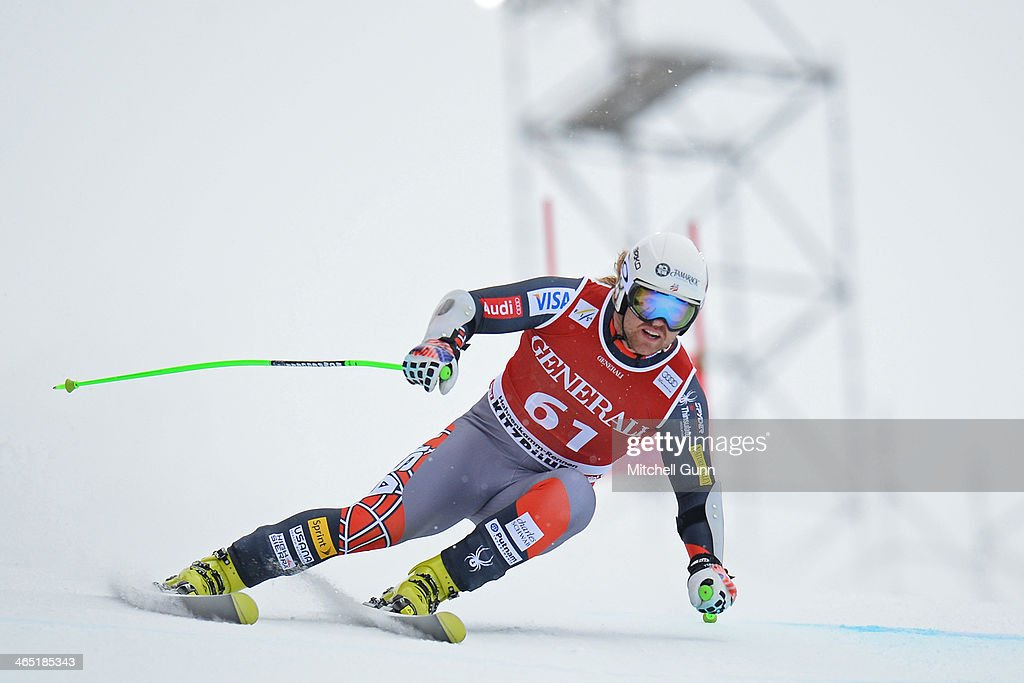 Erik Fisher of The USA competes in the Super G stage on the Hahnenkamm Course during the Audi FIS Alpine Ski World Cup Super Combined race on January 26, 2013 in Kitzbuhel, Austria.