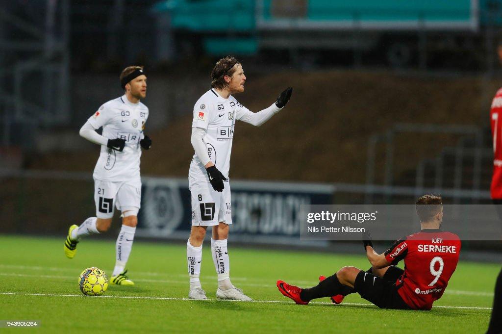 Erik Friberg of BK Hacken and Bajram Ajeti of IF Brommapojkarna during the Allsvenskan match between IF Brommapojkarna and BK Hacken at Grimsta IP on April 9, 2018 in Stockholm, Sweden.