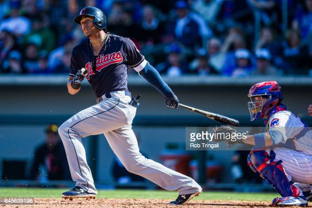 Erik Gonzalez of the Cleveland Indians bats in the sixth inning during a spring training game against the Chicago Cubs at Sloan Park on February 26...