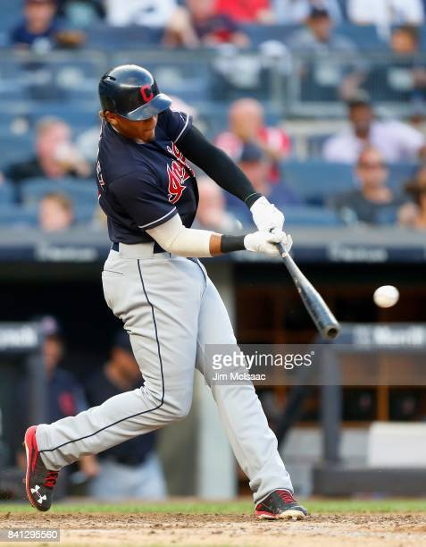 Erik Gonzalez of the Cleveland Indians connects on a sixth inning double against the New York Yankees in the second game of a doubleheader at Yankee...