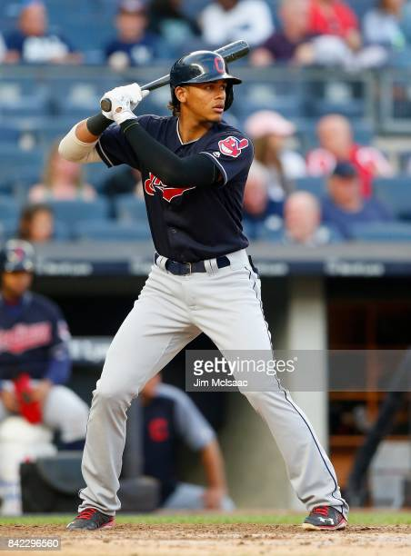 Erik Gonzalez of the Cleveland Indians in action against the New York Yankees in the second game of a doubleheader at Yankee Stadium on August 30...