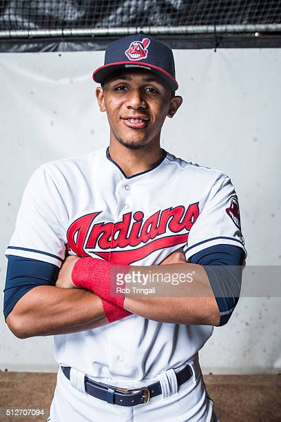 Erik Gonzalez of the Cleveland Indians poses for a portrait during photo day at the Cleveland Indians Development Complex on February 27, 2016 in...