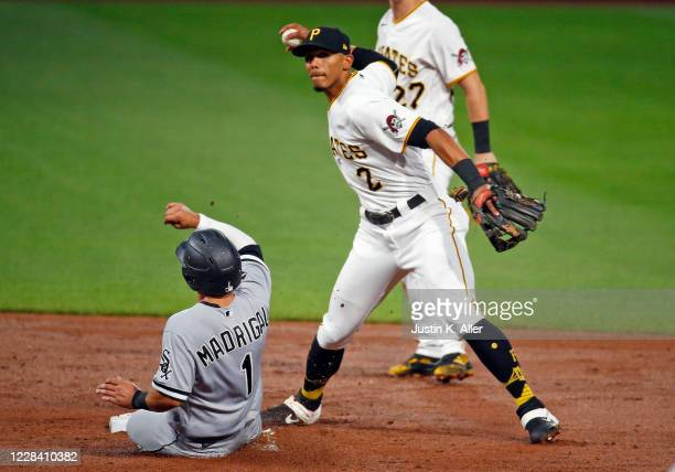 Erik Gonzalez of the Pittsburgh Pirates attempts a double play in the third inning against the Chicago White Sox at PNC Park on September 8, 2020 in...