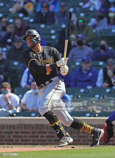 Erik Gonzalez of the Pittsburgh Pirates bats against the Chicago Cubs at Wrigley Field on April 03, 2021 in Chicago, Illinois. The Cubs defeated the...