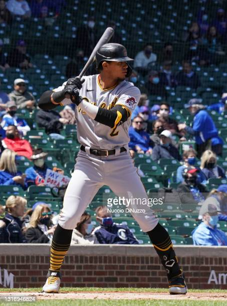 Erik Gonzalez of the Pittsburgh Pirates bats against the Chicago Cubs during a game at Wrigley Field on May 07, 2021 in Chicago, Illinois.