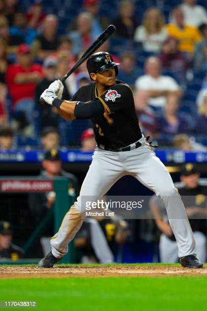 Erik Gonzalez of the Pittsburgh Pirates bats against the Philadelphia Phillies at Citizens Bank Park on August 26, 2019 in Philadelphia, Pennsylvania.