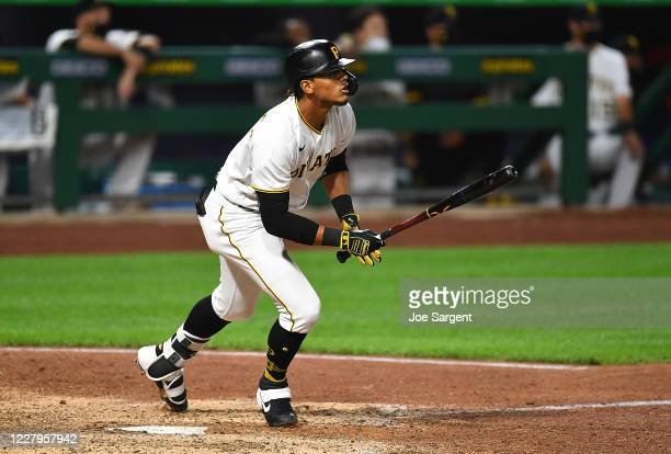 Erik Gonzalez of the Pittsburgh Pirates hits a single during the tenth inning against the Detroit Tigers at PNC Park on August 7, 2020 in Pittsburgh,...
