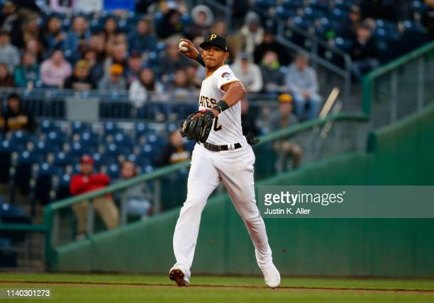 Erik Gonzalez of the Pittsburgh Pirates in action against the St Louis Cardinals at PNC Park on April 3 2019 in Pittsburgh Pennsylvania