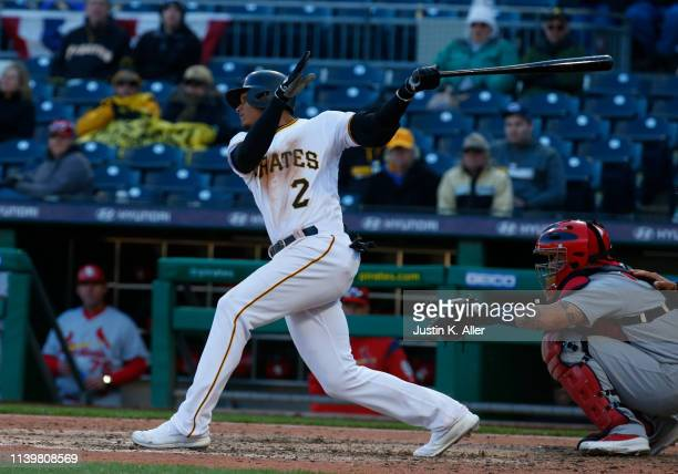 Erik Gonzalez of the Pittsburgh Pirates in action against the St. Louis Cardinals on Opening Day at PNC Park on April 1, 2019 in Pittsburgh,...
