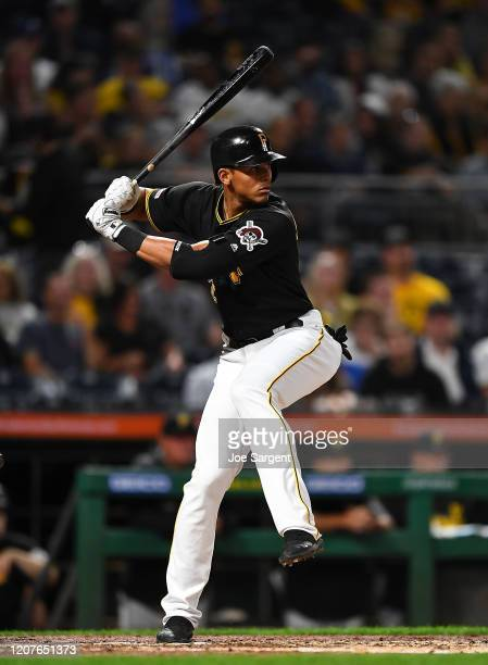 Erik Gonzalez of the Pittsburgh Pirates in action during the game against the Chicago Cubs at PNC Park on September 24, 2019 in Pittsburgh,...