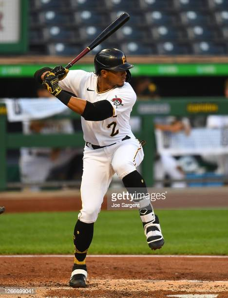 Erik Gonzalez of the Pittsburgh Pirates in action during the game against the Detroit Tigers at PNC Park on August 7, 2020 in Pittsburgh,...