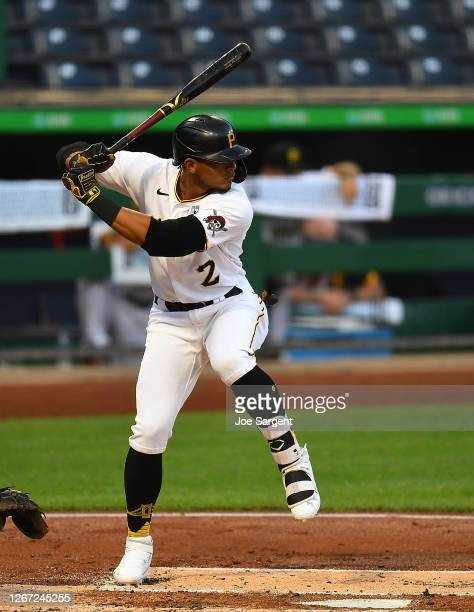 Erik Gonzalez of the Pittsburgh Pirates in action during the game against the Cleveland Indians at PNC Park on August 18, 2020 in Pittsburgh,...
