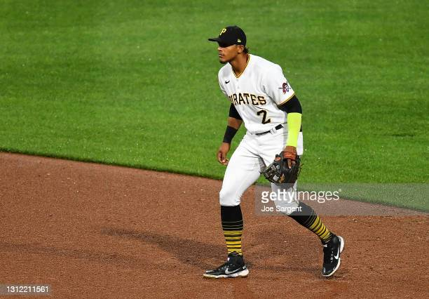Erik Gonzalez of the Pittsburgh Pirates in action during the game against the Chicago Cubs at PNC Park on April 10, 2021 in Pittsburgh, Pennsylvania.
