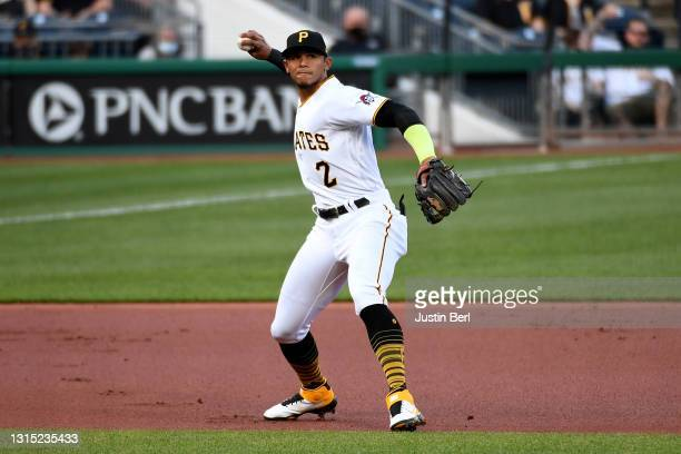 Erik Gonzalez of the Pittsburgh Pirates in action during the game against the Kansas City Royals at PNC Park on April 27, 2021 in Pittsburgh,...