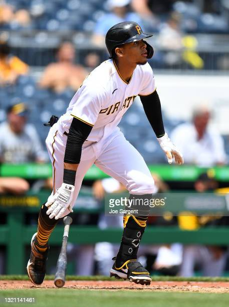 Erik Gonzalez of the Pittsburgh Pirates in action during the game against the Chicago Cubs at PNC Park on May 27, 2021 in Pittsburgh, Pennsylvania.