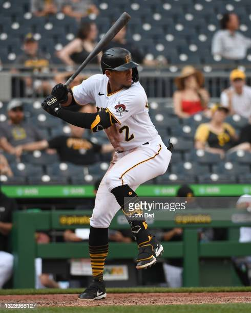 Erik Gonzalez of the Pittsburgh Pirates in action during the game against the Miami Marlins at PNC Park on June 5, 2021 in Pittsburgh, Pennsylvania.