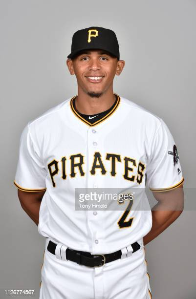 Erik Gonzalez of the Pittsburgh Pirates poses during Photo Day on Wednesday, February 20, 2019 at LECOM Park in Bradenton, Florida.