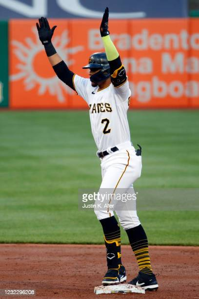 Erik Gonzalez of the Pittsburgh Pirates reacts after hitting a RBI double in the first inning against the San Diego Padres at PNC Park on April 13,...