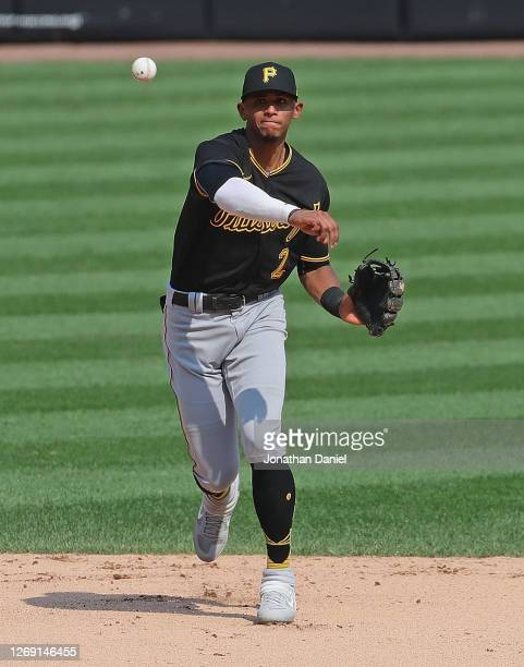 Erik Gonzalez of the Pittsburgh Pirates throws to first base against the Chicago White Sox at Guaranteed Rate Field on August 26, 2020 in Chicago,...