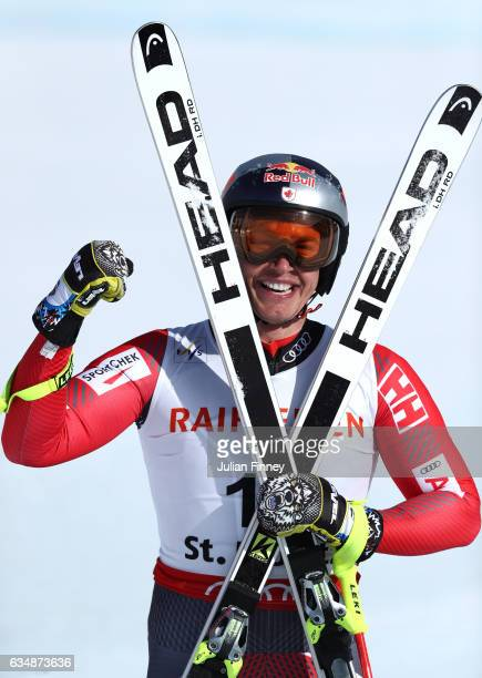 Erik Guay of Canada celebrates at the finish in the Men's Downhill during the FIS Alpine World Ski Championships on February 12 2017 in St Moritz...