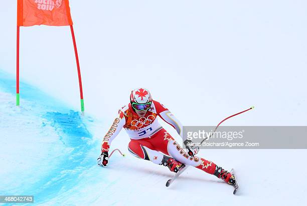 Erik Guay of Canada competes during the Alpine Skiing Men's Downhill at the Sochi 2014 Winter Olympic Games at Rosa Khutor Alpine Centre on February...