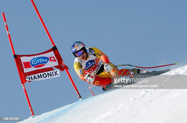 Erik Guay of Canada during the Audi FIS Alpine Ski World Cup Men's Downhill on February 4 2012 in Chamonix France