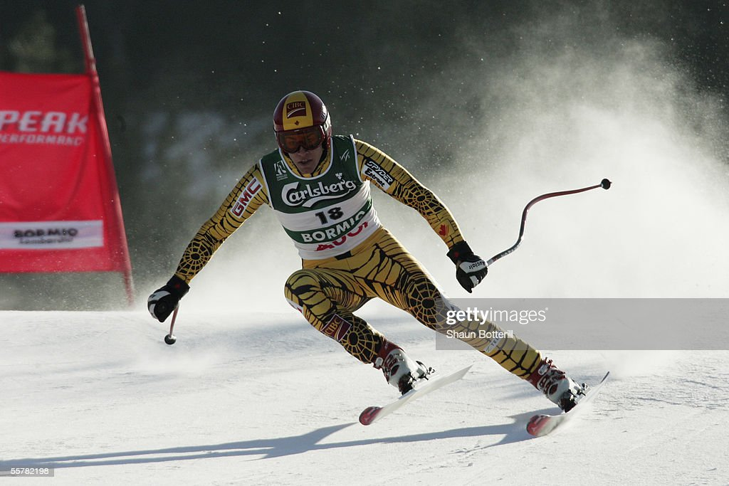 Erik Guay of Canada in action during the Mens Downhill at the FIS Alpine World Ski Championships 2005 on February 5, 2005 in Bormio, Italy.