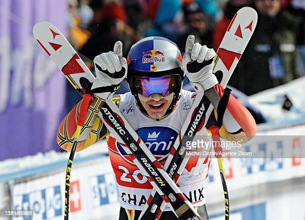 Erik Guay of Canada takes 3rd place during the Audi FIS Alpine Ski World Cup Men's Downhill on February 4 2012 in Chamonix France