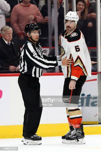 Erik Gudbranson of the Anaheim Ducks is separated after second period fight against the Washington Capitals at Capital One Arena on November 18 2019...
