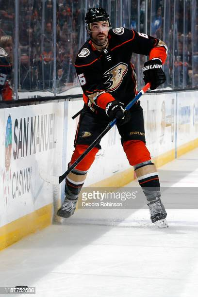 Erik Gudbranson of the Anaheim Ducks passes the puck during the game against the San Jose Sharks at Honda Center on November 14 2019 in Anaheim...