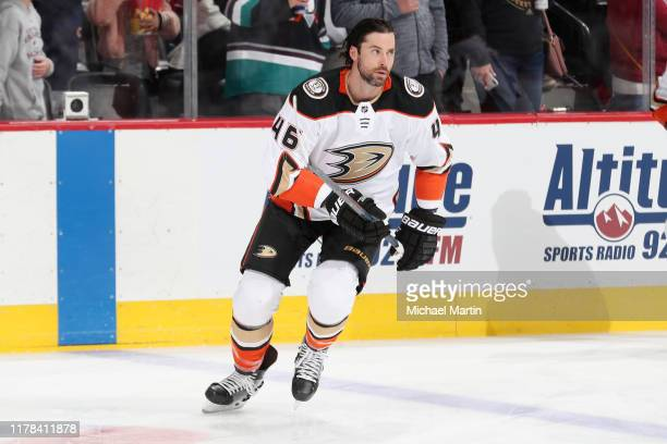 Erik Gudbranson of the Anaheim Ducks skates during warm ups prior to the game against the Colorado Avalanche at the Pepsi Center on October 26 2019...