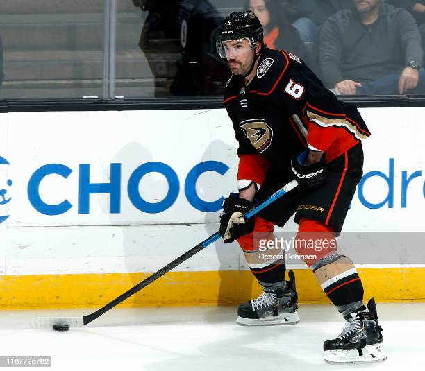 Erik Gudbranson of the Anaheim Ducks skates with the puck during the game against the Detroit Red Wings at Honda Center on November 12 2019 in...