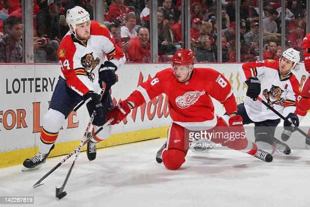 Erik Gudbranson of the Florida Panthers controls to the puck as Justin Abdelkader of the Detroit Red Wings reaches after during an NHL game at Joe...