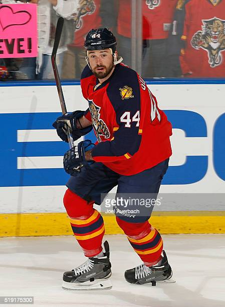 Erik Gudbranson of the Florida Panthers skates prior to the game against the Montreal Canadiens at the BBT Center on April 2 2016 in Sunrise Florida...