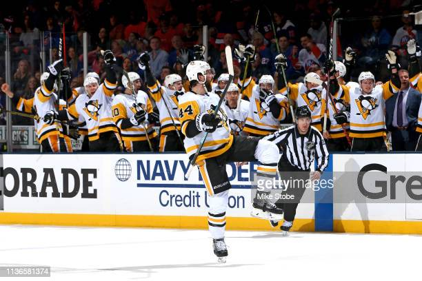 Erik Gudbranson of the Pittsburgh Penguins celebrates his second period goal against the New York Islanders in Game Two of the Eastern Conference...
