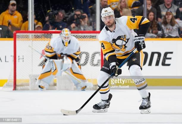 Erik Gudbranson of the Pittsburgh Penguins skates against the Nashville Predators at Bridgestone Arena on March 21 2019 in Nashville Tennessee