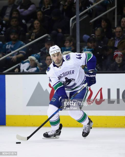 Erik Gudbranson of the Vancouver Canucks in action against the San Jose Sharks at SAP Center on December 21 2017 in San Jose California