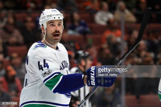 Erik Gudbranson of the Vancouver Canucks motions to teammates during the third period of a game against the Anaheim Ducks at Honda Center on November...