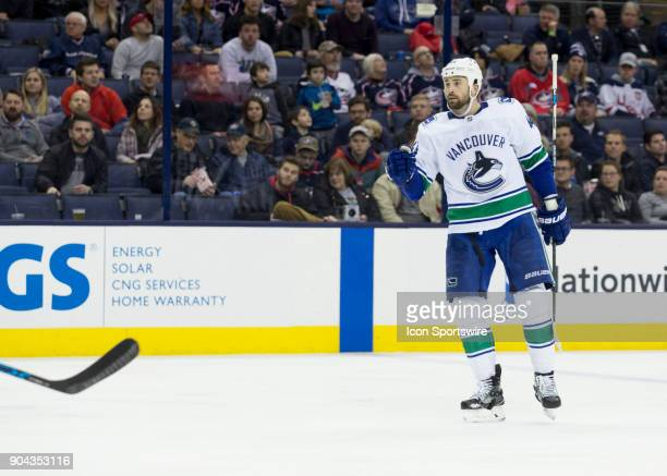 Erik Gudbranson of the Vancouver Canucks reacts to scoring a goal during the game between the Columbus Blue Jackets and the Vancouver Canucks at the...