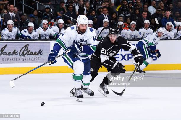 Erik Gudbranson of the Vancouver Canucks skates against Nick Shore of the Los Angeles Kings at STAPLES Center on September 16 2017 in Los Angeles...