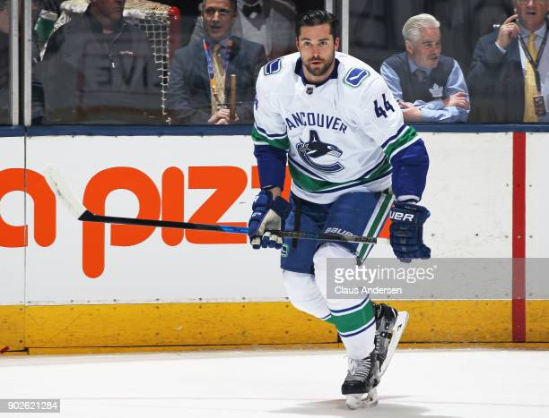Erik Gudbranson of the Vancouver Canucks skates during the warmup prior to playing against the Toronto Maple Leafs in an NHL game at the Air Canada...