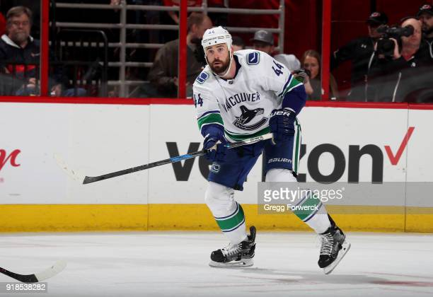 Erik Gudbranson of the Vancouver Canucks skates for position on the ice during an NHL game against the Carolina Hurricanes on February 9 2018 at PNC...