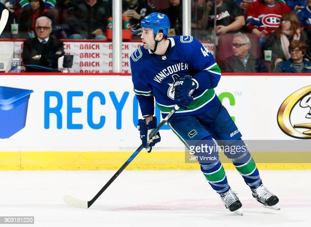 Erik Gudbranson of the Vancouver Canucks skates up ice during their NHL game against the Montreal Canadiens at Rogers Arena December 19 2017 in...