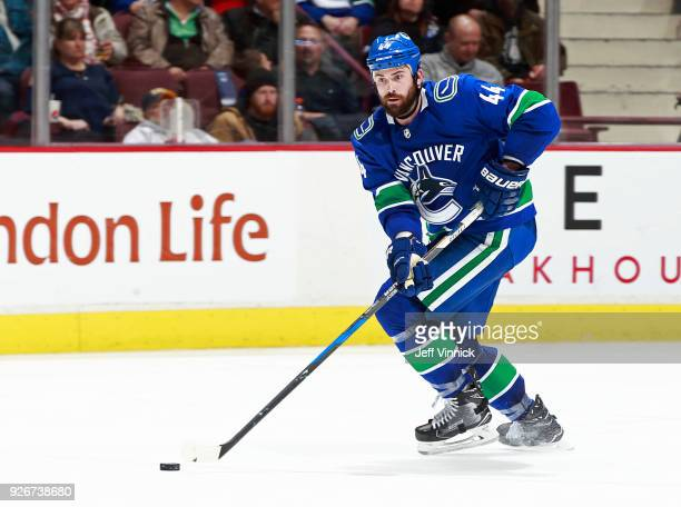 Erik Gudbranson of the Vancouver Canucks skates up ice during their NHL game against the Colorado Avalanche at Rogers Arena February 20 2018 in...