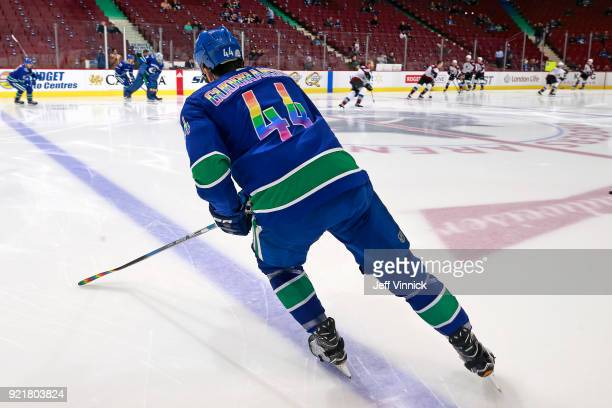 Erik Gudbranson of the Vancouver Canucks sport pride colours during warmup before their NHL game against the Colorado Avalanche at Rogers Arena...