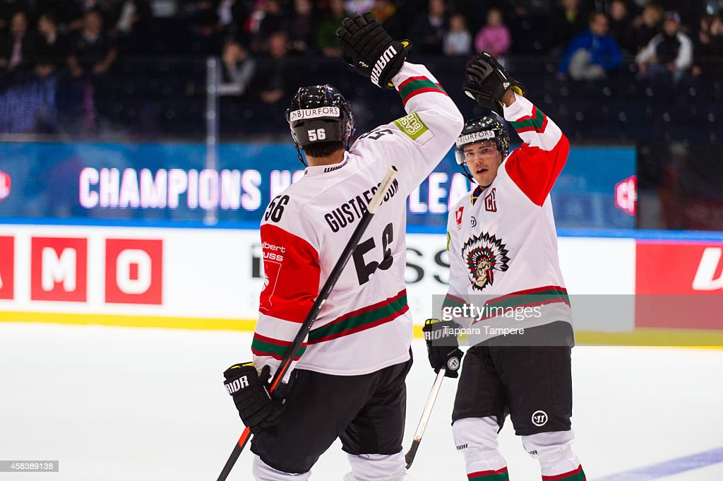 Erik Gustafsson of Frolunda Gothenburg celebrates the 0-1 goal during the Champions Hockey League round of 16 first leg game between Tappara Tampere and Frolunda Gothenburg at Hakametsa on November 4, 2014 in Tampere, Finland.