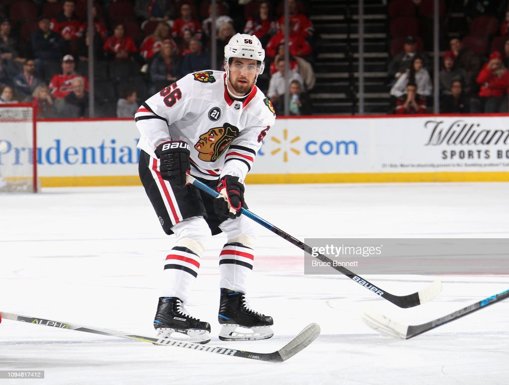 new products 64d36 ea505 Erik Gustafsson of the Chicago Blackhawks skates against the ...