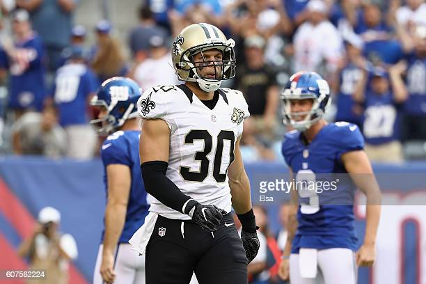 Erik Harris of the New Orleans Saints reacts after losing to the New York Giants at MetLife Stadium on September 18 2016 in East Rutherford New...