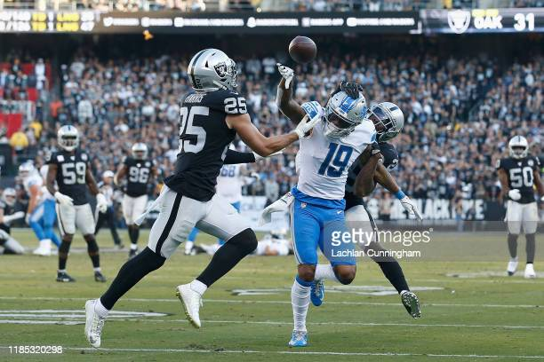 Erik Harris of the Oakland Raiders breaks up a pass intended for Kenny Golladay of the Detroit Lions in the fourth quarter at RingCentral Coliseum on...