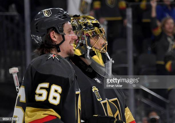 Erik Haula and MarcAndre Fleury of the Vegas Golden Knights celebrate after their 42 win over the Winnipeg Jets in Game Three of the Western...
